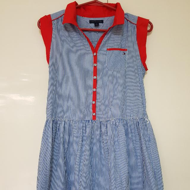 Tommy Hilfiger Dress Blue Stripes with Orange
