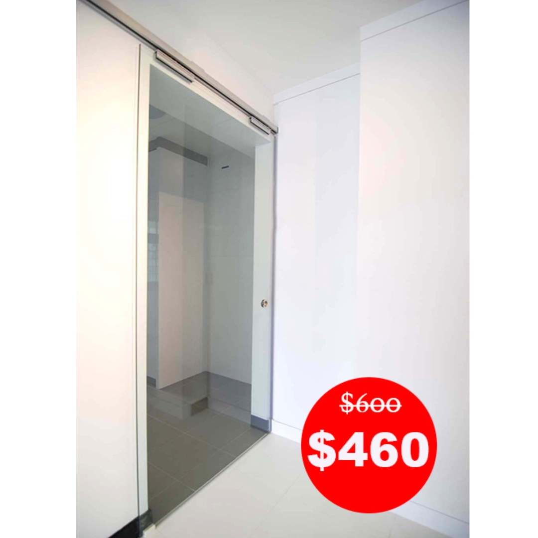 Top Hung Track Clear Glass Sliding Door Made In Singapore 10mm Thick Tempered Furniture Home Decor On Carou