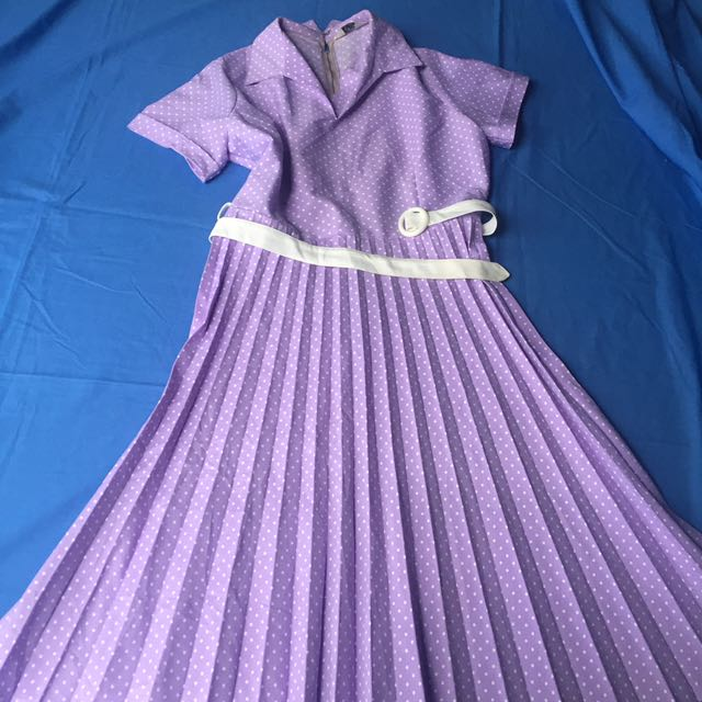 Vintage Purple Polka Dot Dress Size 14/16