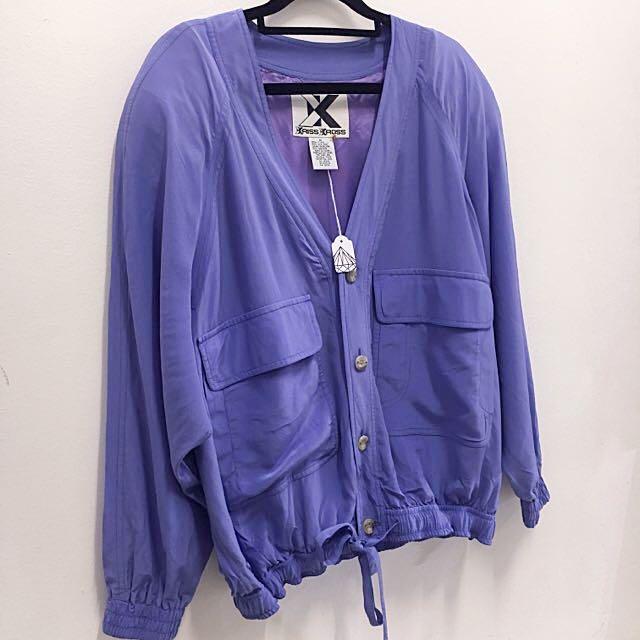 Vintage Purple Silk Kriss Kross Bomber