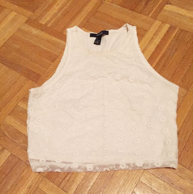 White Lace Overlay Crop Top