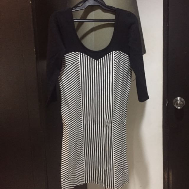 Zara Black And White Bodycon Dress