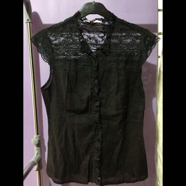 ZARA Lace Polo Top