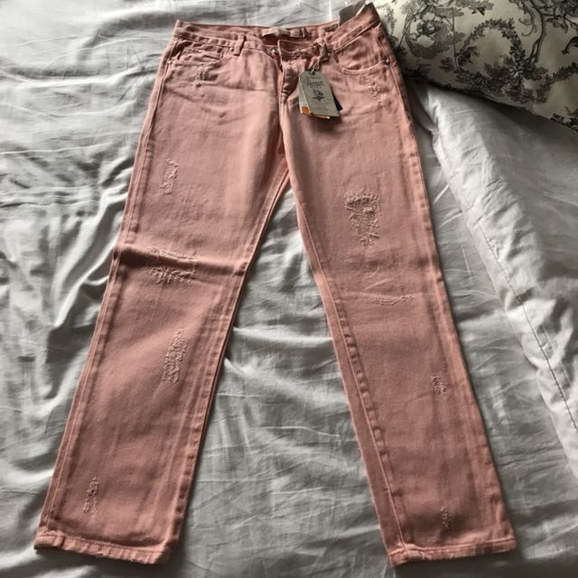 Zara Pink Ripped Jeans