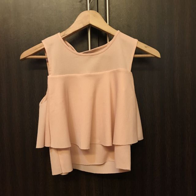 Zara Pink Ruffled Cropped Top