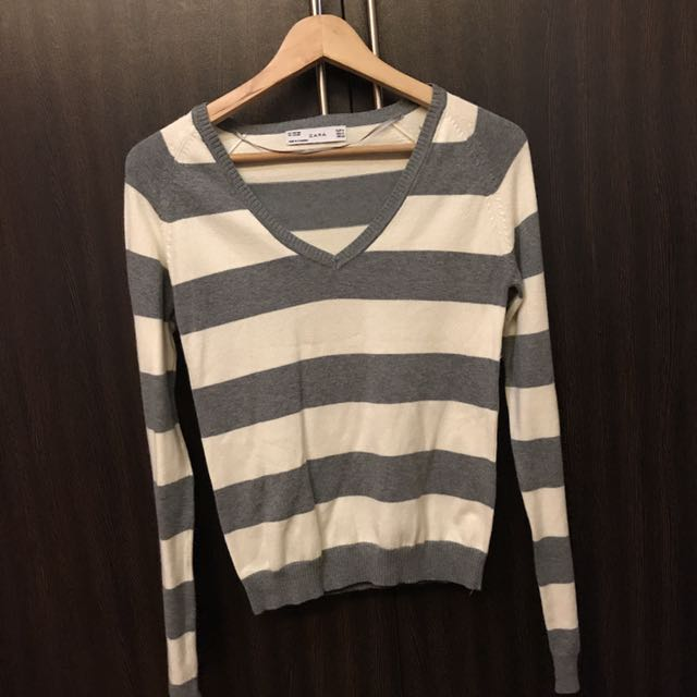 Zara Striped Grey And White Sweater