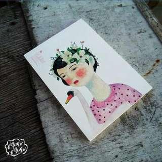 Girl And Bird Notepad