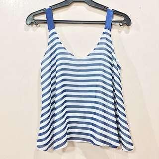 Blue Striped Sleeveless Top