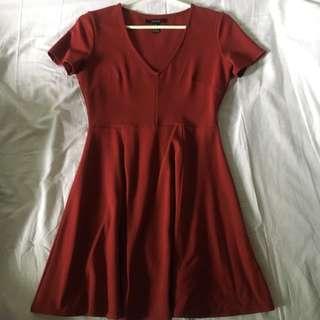 F21 Red V-neck Skater Dress