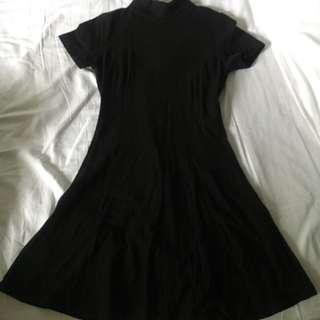 F21 Black Turtleneck Skater Dress