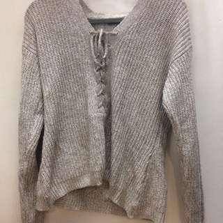 Knit Lace Up Sweater