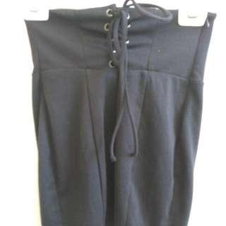 Black Tie Up Mini Pencil Skirt