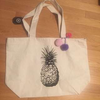 Saks Canvas Beach Bag