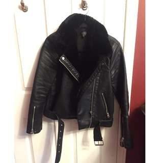 Topshop Leather Jacket with Fur Trim - Size 6