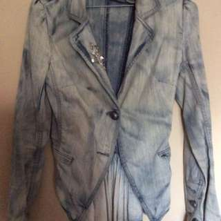 Tiger lily Vintage Denim Jacket With Back Ruffle & Diamanté Detail On Collar Size 6/XS
