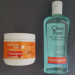 BRAND NEW UNUSED - Neutrogena Rapid Clear Pore Clear - Toner and Face pads for Acne prone skin
