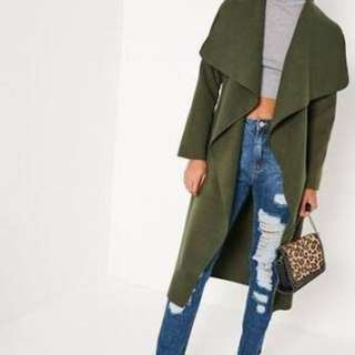 Khaki Waterfall Coat Missguided