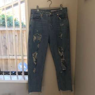 ASOS distressed Mom Jeans