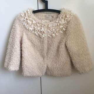 Creamy Furry Flowery Elegant Jacket