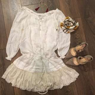 Club Monaco White Cotton Lace Dress