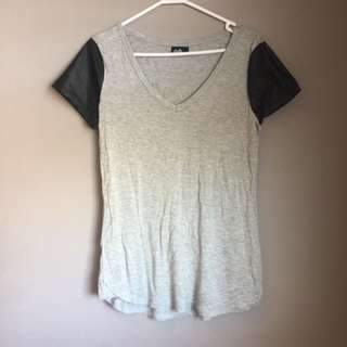 Dotti Tshirt With Faux Leather Sleeves