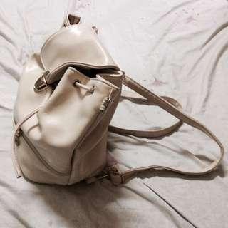 White Leather Backpack/shoulder Bag