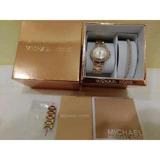 真新品 Michael Kors 玫瑰金鑽錶