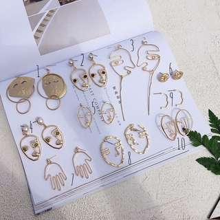 《早·衣服》七月盛夏🌞畢卡索的眼界搞怪誇張抽象造型人臉輪廓大集合垂墜耳環耳針(預)