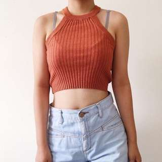 Garage Burnt Orange Knitted Halter Top