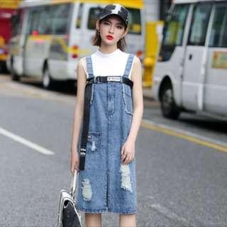 韓國露肩吊帶工人牛仔裙