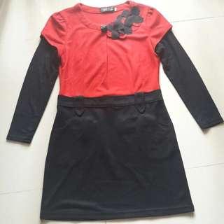 Dress Import Merah Hitam