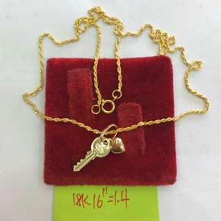 Heart Key Gold Necklace