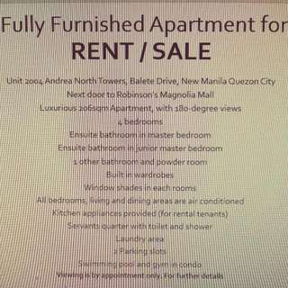 Fully Furnished Apartment For SALE/RENT