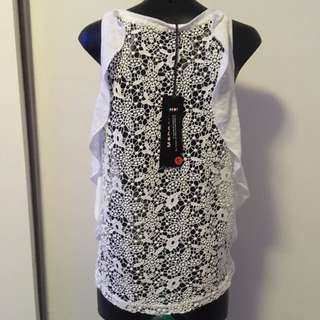 Morgan White Lace Top size XS