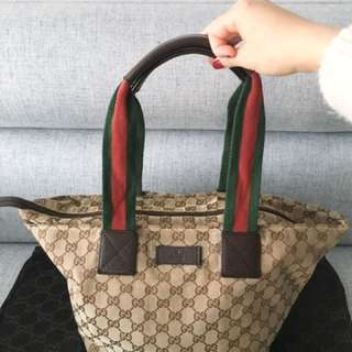 "Authentic Gucci ""Shelley Line"" Tote Bag"