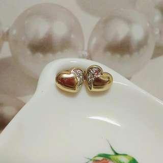 金色心心相印水鑽耳環
