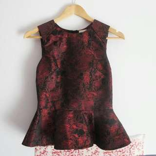 XS Oriental Deep Red Pattern Peplum