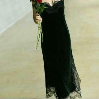 DICARI Black Velvet Mix Lace Dress!!!!