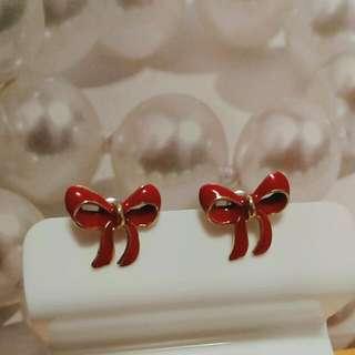 紅色蝴蝶結耳環