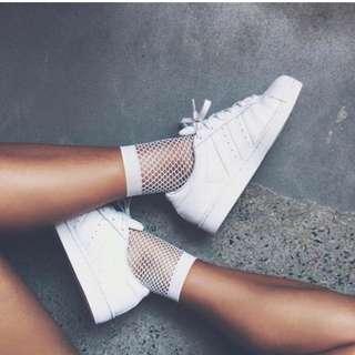 2 PAIRS!! White Fishnet Socks.  BRAND NEW