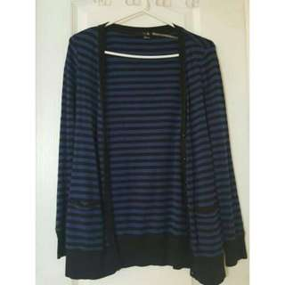 Black And Blue Stripes Cardigan