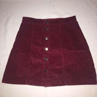 Maroon Denim Skirt