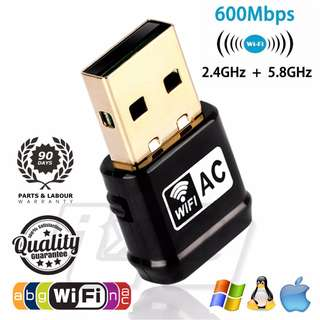 ($20.90) Mini Compact Travel AC 600Mbps Wireless Adapter, Dual Band (2.4 GHz & 5Ghz) USB Wifi dongle with Antenna, 802.11ac/n/g/b/a Network Lan Card For Windows, Linux Mac OS