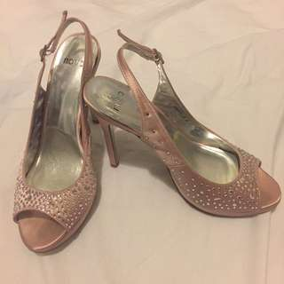 Novo Size 8 Slingbacks Dusty Pink Jewelled Heels Stilettos