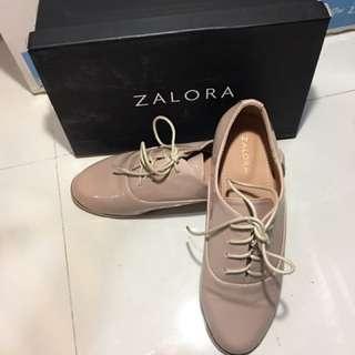 Zalora Beige Patent Oxford Shoes