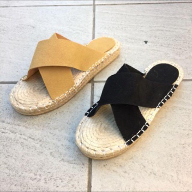 全新韓版草編底拖鞋24.5碼卡其色