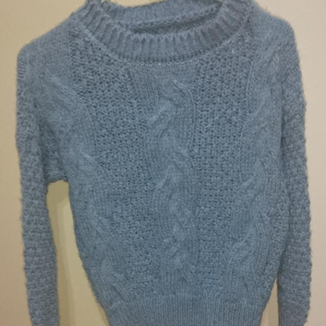 針織藍色毛衣