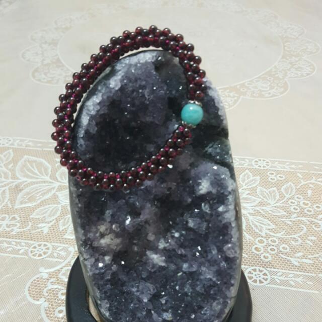 天然紅石榴手珠 帶天河石