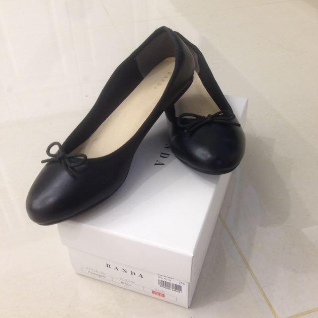 RANDA黑色氣質平底娃娃鞋