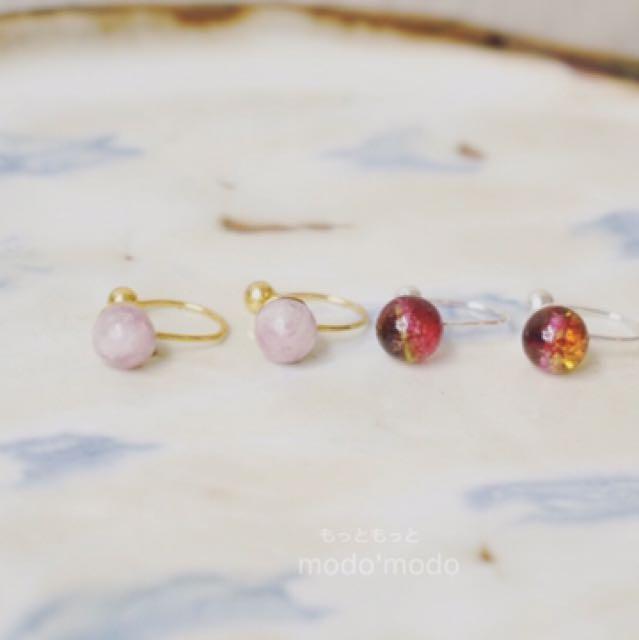 「天然石夾式耳環」